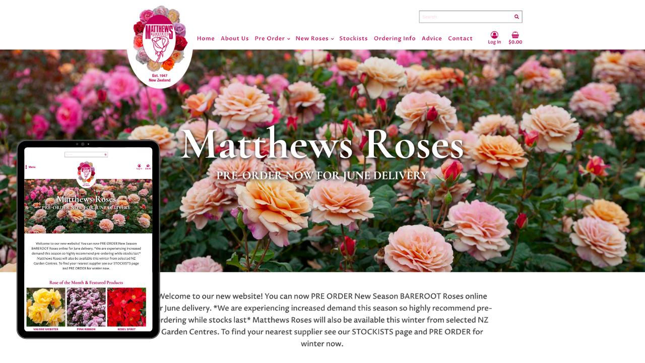 Mathews Roses Mobile Mockup - Portfolio