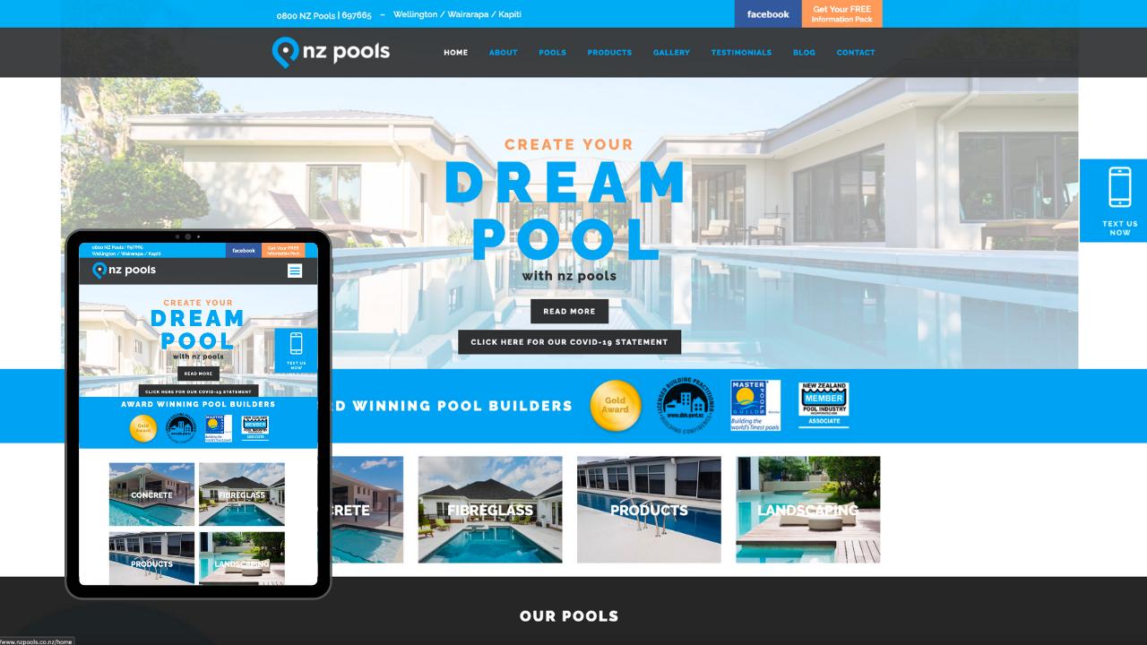 NZ Pools Mobile Mockup - Portfolio